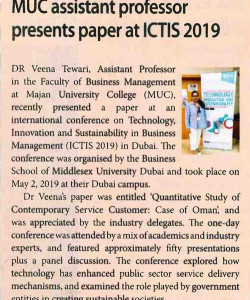 MUC Assistant professor presents paper at ICTIS 2019
