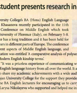 Majan student presents a research in Italy